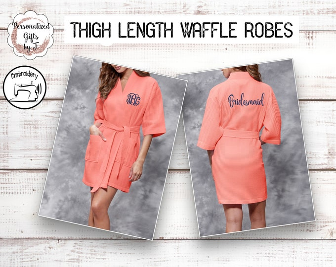 Coral Bridesmaid Waffle Robe Kimono Style Spa Robe Comfy Robe Personalized Monogrammed Robe