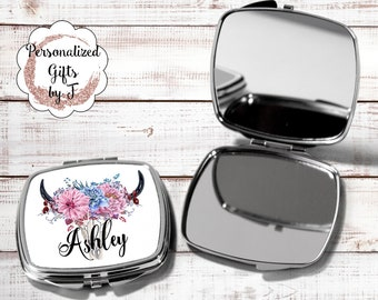 Pocket mirror, bridesmaid gift, travel mirror bridesmaid hand mirror, bridesmaid personalized compact mirror, bridesmaid monogram mirror HB1