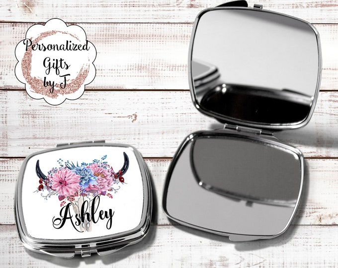 Pocket mirror, bridesmaid gift, travel mirror bridesmaid hand mirror, bridesmaid personalized compact mirror, bridesmaid monogram mirror HB1
