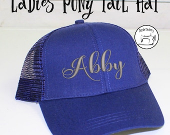 Ponytail Hat Custom Royal Blue, Monogrammed,High Pony Tail Hat, High Pony Cap, Baseball Hat Messy Bun Hat  Women Gift under 10