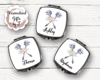 Boho Personalized Mirror- Wedding Favor,Bridal & Bachelorette Party Gifts - Monogrammed Compact,  Sorority Sister Gift, Teacher Gift  #1130