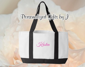 6 Personalized Tote Bags, Monogrammed Totes, Bridesmaid Gifts, 2- Color, Tote Bag, Personalised Tote, Bridesmaid Bag, Getting Ready Bag