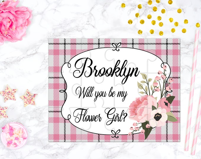 Flower Girl Proposal Pink and Mint Will You Be My Flower Girl Puzzle Flower Girl Keepsake Personalized Flower Girl Gift design pinkplaid
