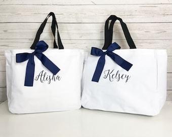 10 Monogrammed Bridesmaid Tote Bags, Bridesmaid Gift, Personalized Bridesmaid Tote, Wedding Party Gift,  Name Tote, Bridesmaid Bag (ESS1)