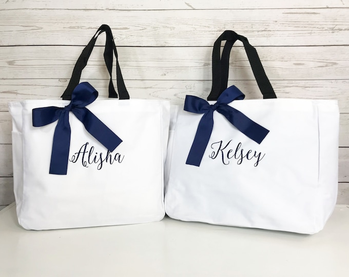 Set of 2 Monogrammed Tote Bags, Personalized Cheer Bag, Bridesmaid Tote, Personalized Tote (ESS1)