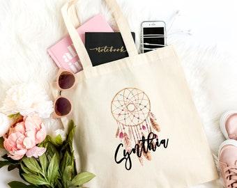 Boho personalized canvas bag, Dream catcher personalized bag