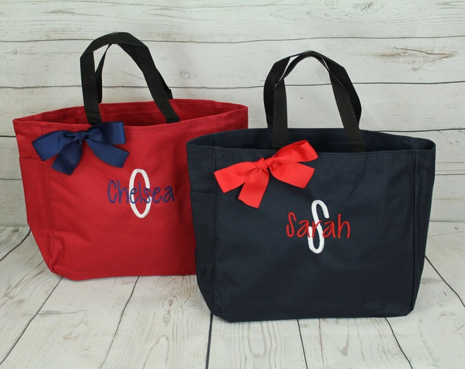 Set of 8 Monogrammed Tote Bags, Bridesmaid Gift, Big Little Gift Idea, Personalized Tote, Wedding Party Gift, Embroidered Sweet 16 (ESS1)