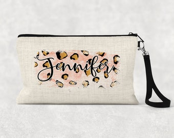 Makeup Bag, Bridesmaid Gift, Cosmetic Pouch, Personalized Makeup Bag Leopard print, Watercolor Brush Stroke