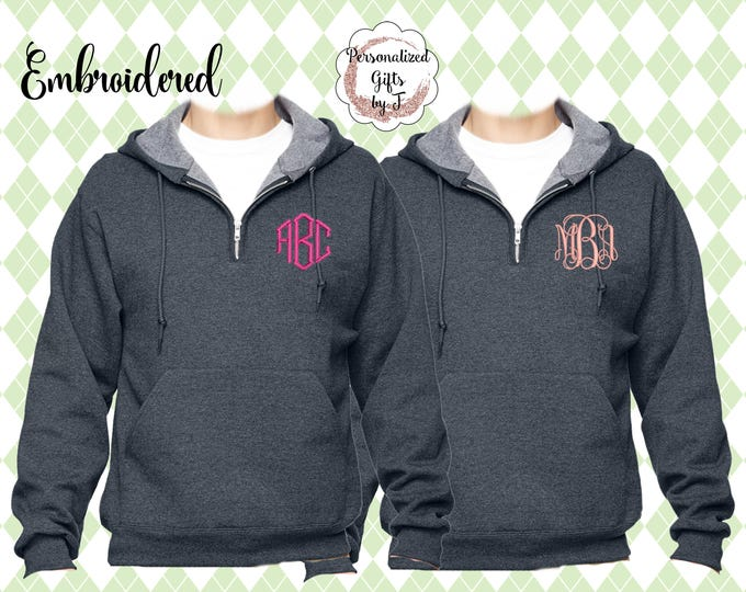 1/4 Zip Hooded Pullover, Monogrammed Big Little Shirt, Sorority Shirt, Quarter Zip Hoodie, Personalized Sweatshirt, Monogram Sweater