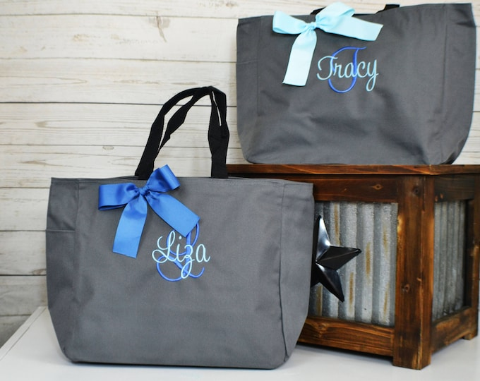 Bridesmaid Gift, Monogrammed Tote Bags, Set of 1,2,3,4,5,6,7,8,9 Personalized Bridesmaids Bags, Wedding Tote Bag, Maid Of Honor Gift (ESS1)