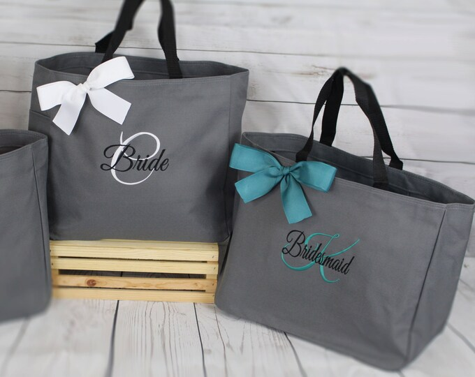 Set of 5, Personalized Bridesmaid Gift Tote Bags- Embroidered Tote - Maid of Honor Gift- Mother of the Bride, Mother of the Groom (ESS1)