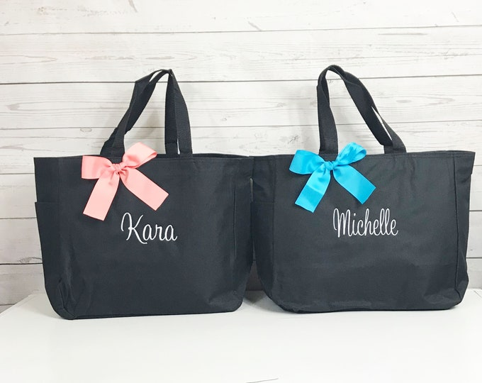 Personalized Tote Bag, Set of 10, embroidered, monogrammed (ESS1)