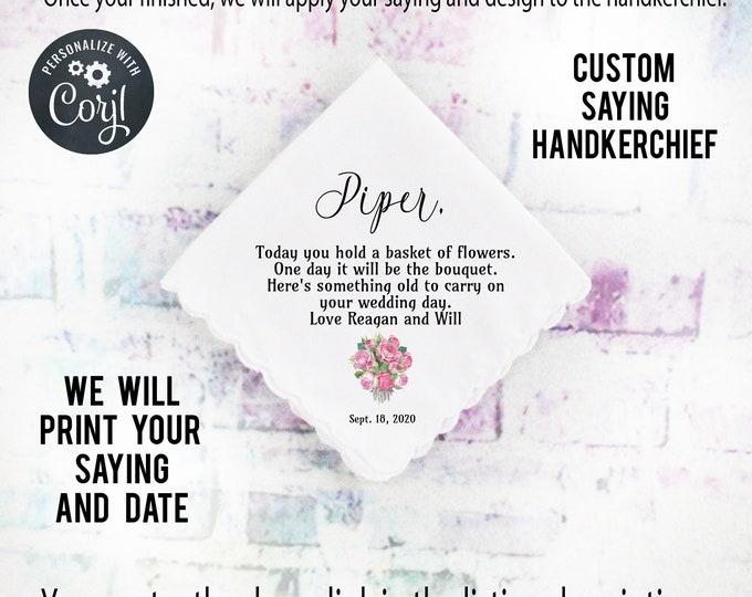 Flower Girl Gift, Custom Handkerchief, Wedding Hanky custom Text Hanky, Mother of the Groom Hanky, Grandmother Gift Corjl 3
