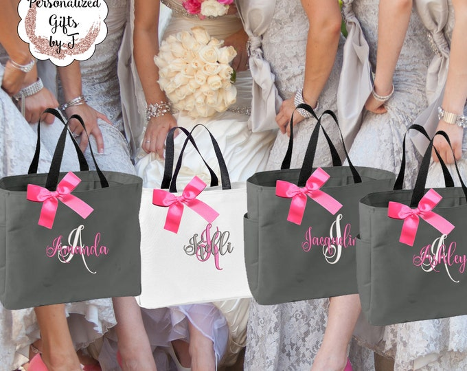Bridesmaid Tote Bag Set of 7 Personalized Bridesmaid Gift Maid of Honor Totes Bridal Party Bags Sorority Gift Big Little Sister Gift (ESS1)