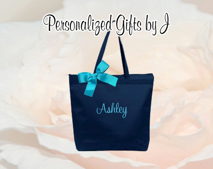 3 Personalized Zippered Tote Bag Bridesmaid Gift Monogrammed Tote, Bridesmaids Tote, Personalized Tote