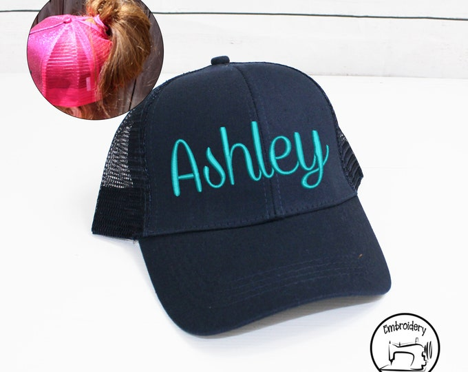 Personalized Navy Messy Bun Hat, Monogrammed, Embroidered ,High Ponytail, Trucker Hat, High Pony Cap, Baseball cap Women Ball Cap