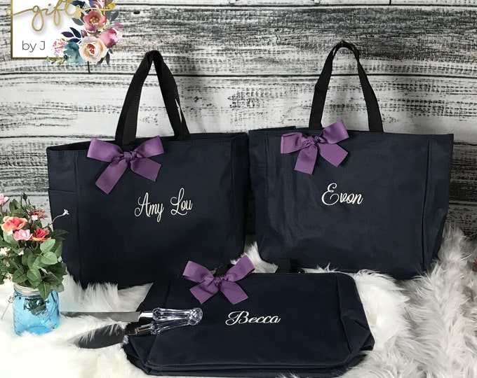 Set of 2 Personalized Bridemaid Gift Tote Bags, Embroidered Tote, Monogrammed Tote, Bridal Party Gift (ESS1)
