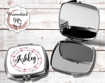 Personalized Compact Mirror Bridesmaid Compact Mirror Custom Compact Mirror Flower Girl Gift Ideas Unique Bridal Shower Gifts hb6