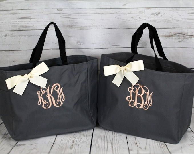 8 Personalized Tote Bags- Bridesmaid Gift- Personalized Bridesmaid Tote - Wedding Party Gift (ESS1)
