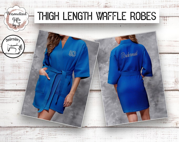 Lapis Blue Bridesmaid Robes, Personalized Bridesmaids Robe, Monogrammed Robes, Personalized Waffle Robe Gifts, Bachelorette Party