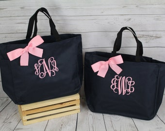 Personalized Bridesmaid Gift Tote Bag- Wedding Party Gift- Bridal Party Gift- Initial Tote- Mother of the Bride Gift Navy and Pink