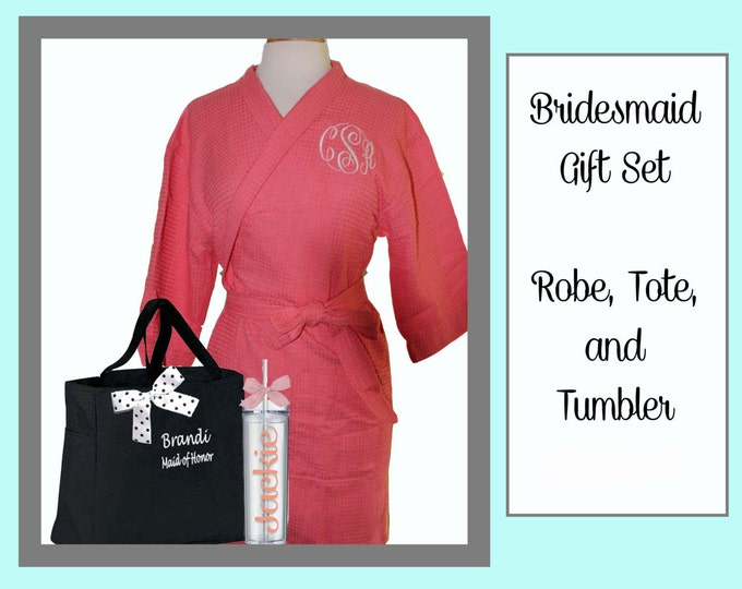2 Getting Ready Robe Sets, Monogrammed Robe, Personalized Tote, and Tumbler, Team Bride, Bridesmaid Gift Set