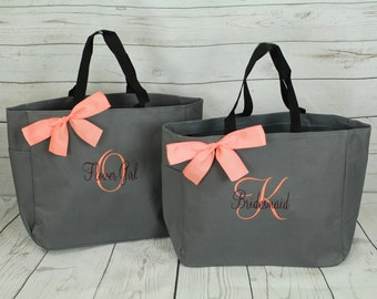 Set of 3 Monogrammed  Bags, Personalized Tote Bags,  Embroidered Custom Tote, Bridesmaid Gift