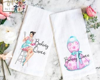 Flour Sack Towels, Set of 2, Baking Queen Blonde or Brunette, Hostess Gift, Housewarming Gift