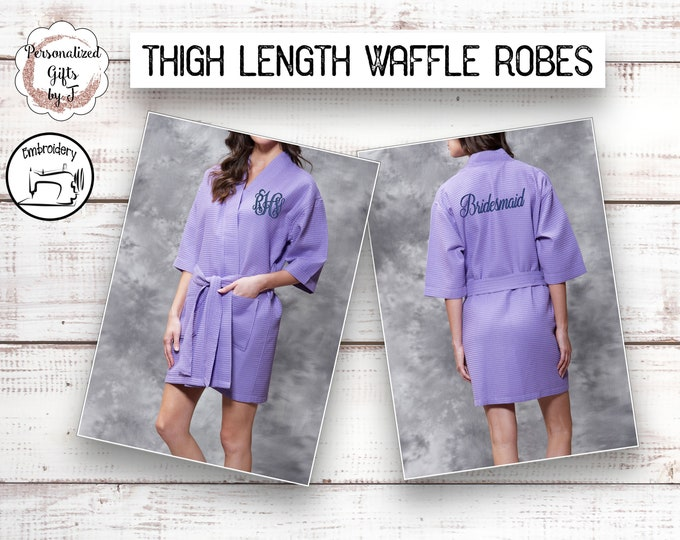 Lavender Personalized Bridesmaids Robes, Monogrammed Robe, Waffle Robe, Personalized Bridesmaid Gifts