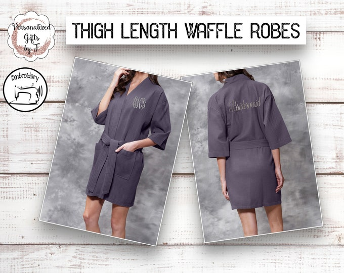 Charcoal Gray Personalized Bridesmaids Robe,Monogrammed Robe, Waffle Robes, Personalized Bridesmaid Gifts