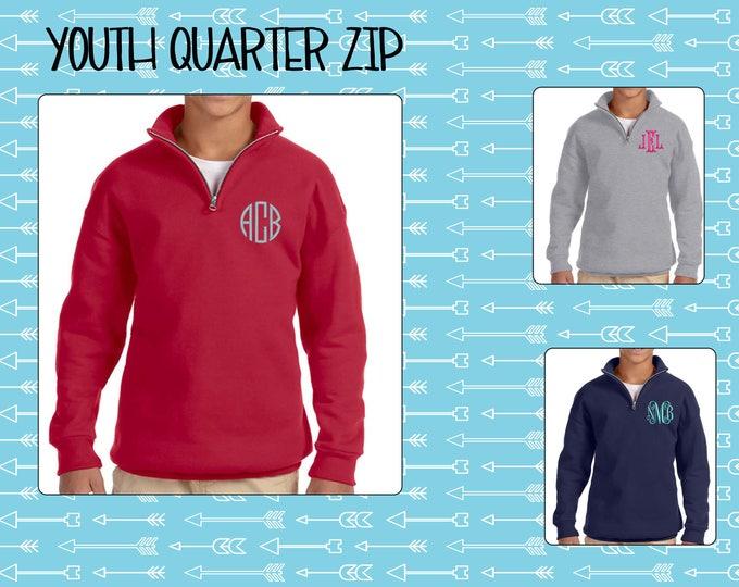 Youth Quarter Zip, Cadet Collar Sweatshirt, Girls Monogrammed Sweatshirt, Monogrammed Quarter Zip, Monogram Pullover
