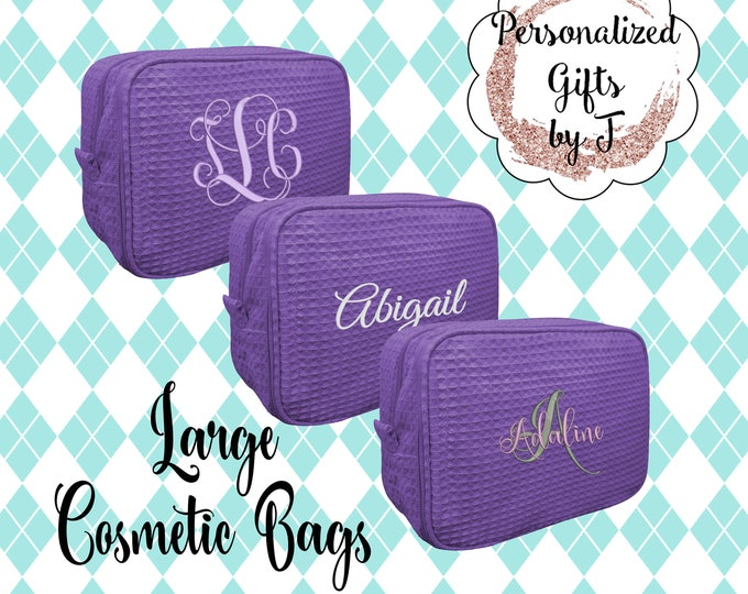 Purple Monogrammed Personalized Makeup Bag, Gift for her, Waffle cosmetic bag, Toiletry Bag, bridesmaid Makeup case