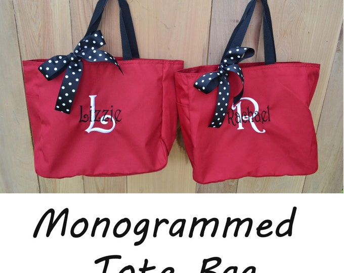 Set of 8 Custom Tote Bags- Bridesmaid Gift- Personalized Tote- Wedding Party Gift- Name Tote- Bridal Party Gift