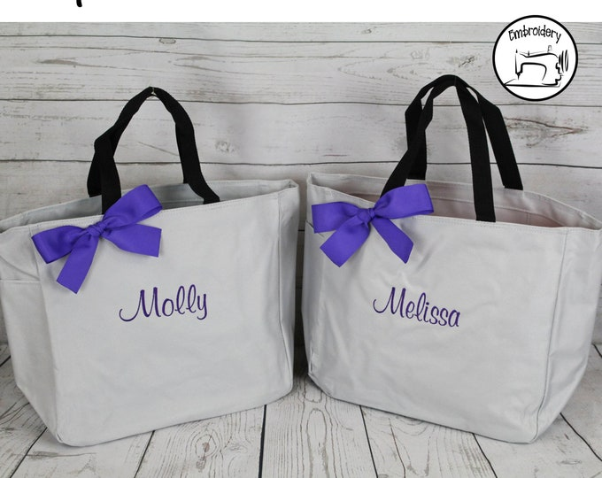 Teacher Tote Bag, Personalized Teacher Gift, Mothers Day Gift Tote Bag, Monogrammed Tote, Bridesmaids Tote, Sister or Best Friend (ESS1)