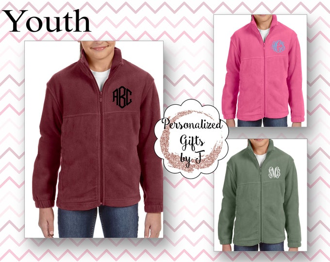 Monogrammed Fleece Jacket, Full Zip Youth Jacket, Christmas Gift, Personalized Coat, Childrens Fleece Jacket, Girl Jacket