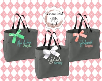 Personalized Bridesmaid Gift Tote Bags Embroidered Tote Monogrammed Tote Bridal Party Gift Bridesmaid Tote Bags Wedding Day Tote Bags (ESS1)
