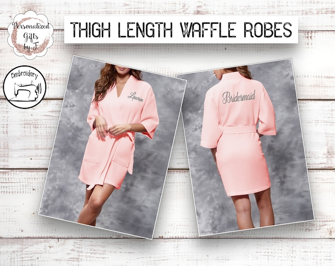 Blush Personalized Waffle Robe Spa Robe  Bridesmaid Robe  Kimono Robe Bridesmaid Gift Idea Womens Robe Monogrammed