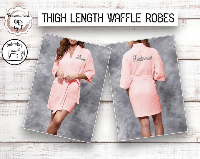 Personalized Bridesmaid Robe, Monogrammed Robe, Waffle Robe, Personalized Bridesmaid Gifts Blush pink
