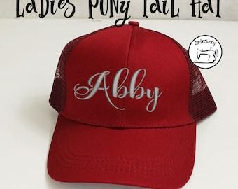 Custom Cardinal Womens Ball Cap, Monogrammed, Embroidered ,High Ponytail Hat, High Pony Cap, Baseball Hat Messy Bun Hat *SALE*