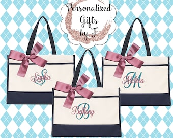 Monogrammed Tote Bag (Set of 9)- Bridesmaid Gift- Personalized Bridemaid Tote - Wedding Party Gift - Name Tote-(CT1)