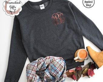 Monogrammed Sweatshirt, Personalized Sweatshirt, Girlfriend Gift,  Bridesmaid Gift, Christmas Gift, Soccer, Cheer, Sorority Shirt