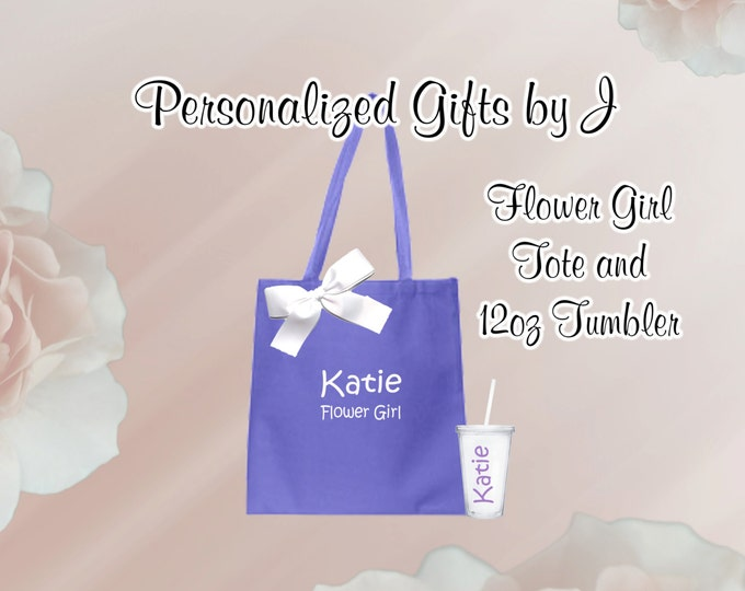 Flower Girl Gifts Tote and Tumbler, Jr Bridesmaid Gift, Wedding Tote and Tumbler Set, Personalized Tote and Tumbler, 12 oz Tumbler