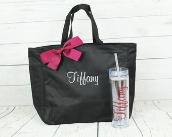 Bridesmaid Gift Set,  SET OF 4, Personalized Bridesmaid Gift Tote and Tumbler Set,  Embroidered Tote - Maid of Honor Gift, Skinny Tumbler