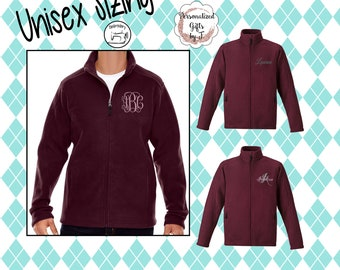 Monogrammed Fleece Jacket, Full Zip Jacket, Christmas Gift for Her, Personalized Coat, Unisex Fleece Jacket