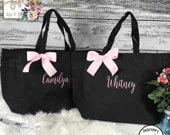 Personalized Cheer Dance Beach Bridesmaid Gift Tote Bag, Embroidered Tote, Monogrammed Tote, Bridal Party Gift (ESS1)