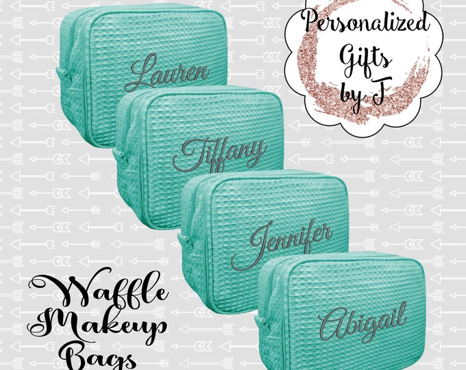 Mint Bridesmaid Makeup Bag, Bridesmaid Cosmetic Waffle Bag, Bridesmaid Bag, Monogrammed Bag, Personalized Bridal Party Gift