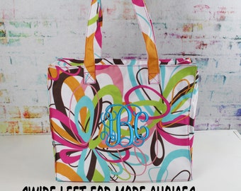 SALE** Personalized Tote- Embroidered tutti frutti Pattern Tote- Zippered, gift under 10