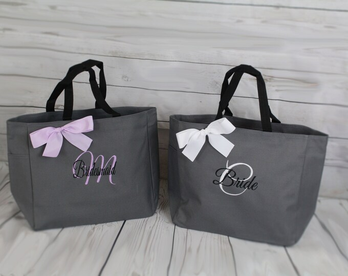 Set of 11 Personalized Bridesmaid Tote Bags- Wedding Party Gift- Bridal Party Gift- Initial Tote- Mother of the Bride Gift (ESS1)