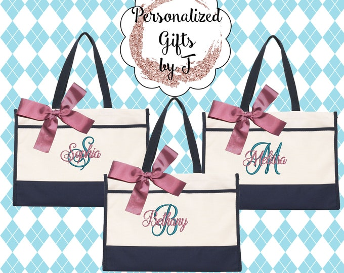 Set of 5 Monogrammed Tote Bag/ Personalized Contemporary Tote/ Bridesmaid Tote/ Teacher Gift/ Sister Gift/Sorority Gift Set (CT1)