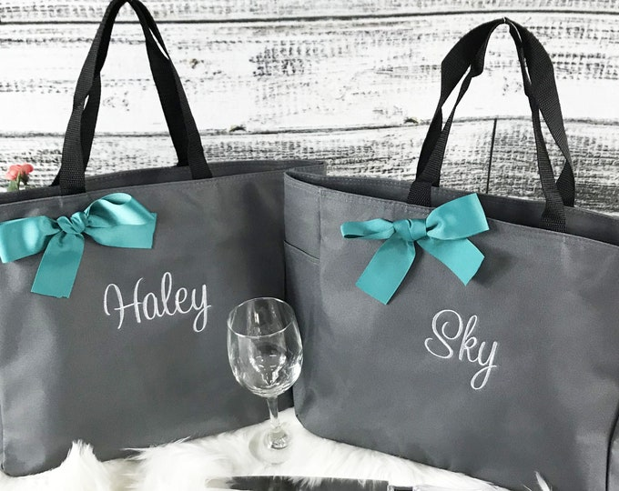 Set Of 5, Personalized Bridal Party Tote, Bridesmaid Gift, Personalized Bag, Embroidered Tote Bag (ESS1)